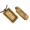 Bezel Handmade Pendant Rectangle 21.6x42x6.5mm Antique Brass